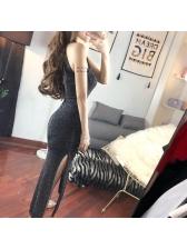 Night Club Lurex Halter Slit Maxi Dresses