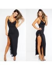 Sexy Lace Detail Patchwork Slit Long Dresses