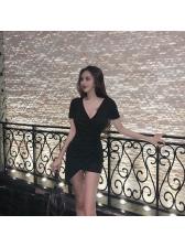 Night Club Plunging V Neck Asymmetrical Dresses