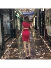 Seductive Striped Hollow-out Slit Bodycon Dresses