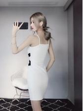 Seductive Color Block Hollow-out Bodycon Dresses