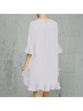 Ruffles Loose Chiffon Short Sleeve Dresses