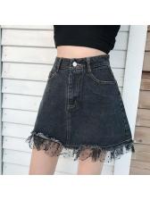 Unique Gauze Patchwork Denim Skirts
