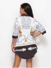 Euro Printed Loose Fashion Blouse