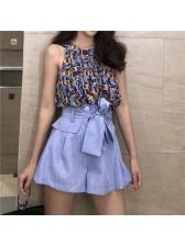 Fashion Bandage Sleeveless Printed Women Suit
