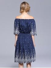 Fresh Off Shoulder Embroidery Smart Waist Dress