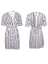 Alluring Striped Backless Low-cut Short Dresses