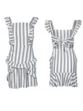 Backless Tie-wrap Striped Ruffles Dresses