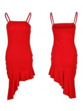 Attractive Ruffles Irregular Womens Sleeveless Dresses