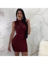 Sexy Sequined Patchwork Bodycon Dress