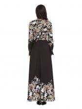 Temperament Muslim Floral Maxi Dresses