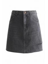 Summer High Waist Worn Out A-line Denim Skirt