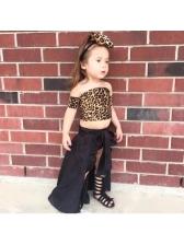 Off Shoulder Leopard Print Dovetail Clothes Sets