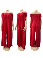 Solid Red Off Shoulder Plus Size Jumpsuits
