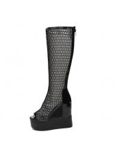 Euro Hollow Out Peep-toe Heighten Martin Boots