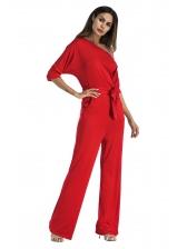 Fashion Inclined Shoulder Solid Half Sleeve Jumpsuit