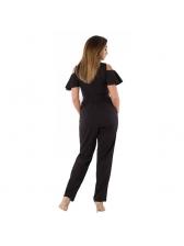 Plus Size Fashion Off Shoulder Ruffles Solid Jumpsuit