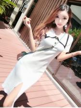 Contrast Color Slit Turndown Collar Dresses