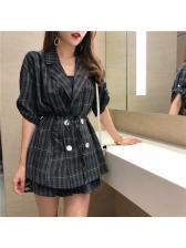 Plaid Double-Breasted Tie Wrap Women Suit