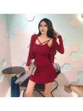 Sexy Cross Belt Low-cut 2 Pieces Dress Suit