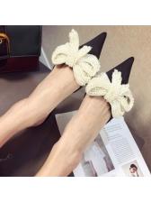 Pointed Beaded Thin Heel Women Flats