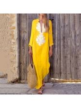 National Deep V Neck Loose Asymmetrical Dress