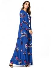 Autumn High Waist Printed Pleated Dress