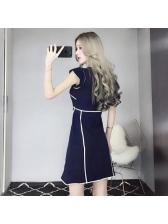 Korean V Neck Colorblock Fitted A-line Dress