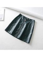 Fashion Multicolored PU Solid Skirts