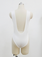Sexy Backless Low Bust White Bodysuits