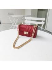 Korean Solid Color Hasp Chain Shoulder Bags