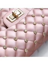 Elegant Geometric Rivet Design Hasp Shoulder Bags