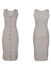 Hot Selling Button Design V-neck Sleeveless Dresses