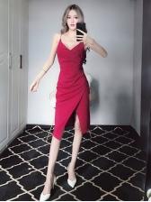 Seductive Pleated Low-cut Slit Spaghetti Strap Dresses