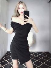 Tempting V Neck Pleated Black Dresses