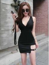 Night Club V Neck Patchwork Sleeveless Bodycon Dress