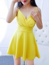 Sexy Deep V-neck Yellow Sleeveless Dress