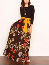 Hot Sale Striped Patchwork Floral Midi Dress