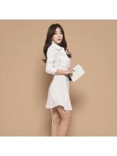 Fashion OL Style Turndown Collar White Dresses