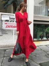 Fashion Polka Dot Flare Sleeves  Dress