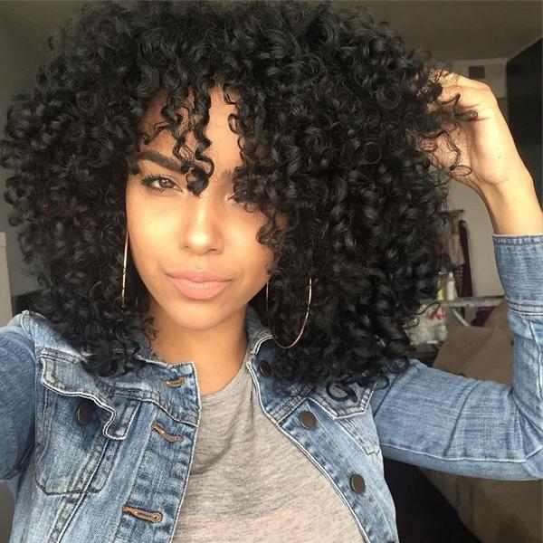 Short Fluffy Black Curly High Temperature Fiber Wig