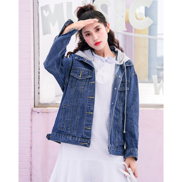 Preppy Style Casual Hooded Denim Jackets