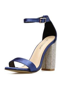 European Style Rhinestone Chunky Heels Sandals