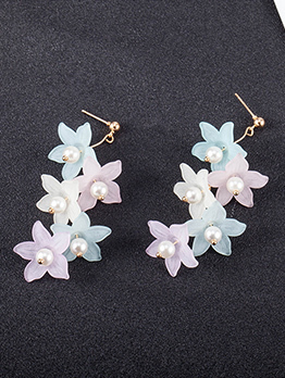 Matching Flower Faux Pearl Long Earrings
