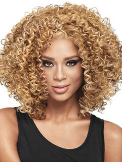 Afro Curl Fluffy Middle Part High Temperature Fiber Wig