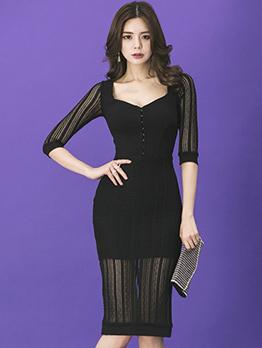 Elegant V Neck Split Hem Lace Dress