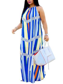 Euro Style Striped Loose Spaghetti Strap Dress