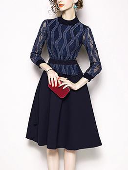 Euro Lace Patchwork Smart Waist A-line Dress