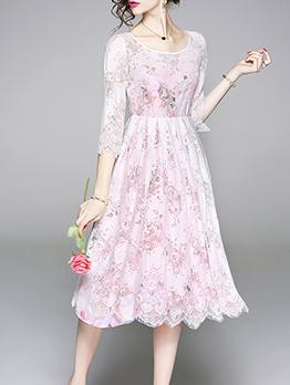 New Arrival Floral Lace Chiffon 2 Pieces Dress