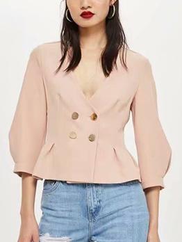 Fashion Solid V-Neck Women Blazers